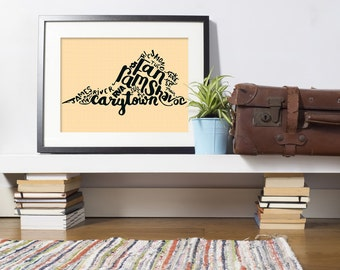 Richmond Hand Drawn Art Print | RVA | VA | Hometown | Rams | VCU | Print | gift | The Fan | Virginia |