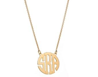 20% OFF + FREE SHIP Block Monogram Necklace - Personalized Monogram Necklace - Initials Necklace - Bridesmaid Gift - Wedding Gift