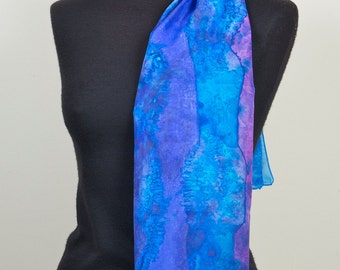 Handpainted Long 100% Silk Scarf dyed with silk dyes. Purple, turquoise, Gift for her