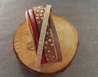 Leather camel, beige and Red Cuff Bracelet