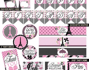 Pink Parisian Digital Printable Girls Paris Birthday Party Printables Package INSTANT DOWNLOAD