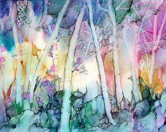 Alcohol Ink Art Print Enchanted Forest on Watercolor Paper with Matt