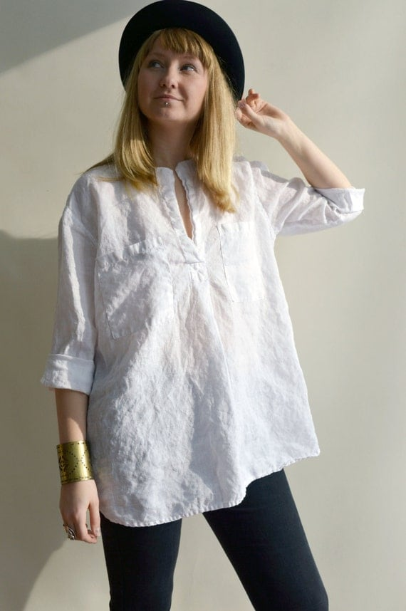 White linen shirt womens shirt tunic shirt 3 4 sleeve for Linen women s shirt