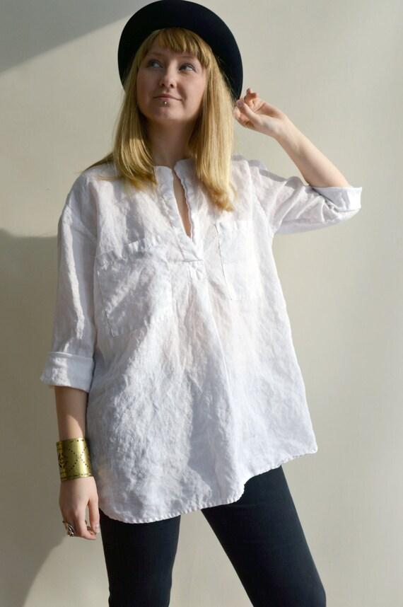 White Linen Shirt Womens Shirt Tunic Shirt 3 4 Sleeve