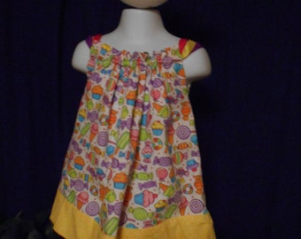 Sweet tooth  with yellow border pillowcase dress.