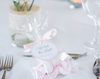 10 scrumptious marshmallow, 'We Tied the Knot'  personalised Wedding Favours.