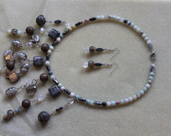 Earth elements necklace and earrings set