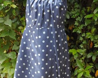 Blue silk dress 1950