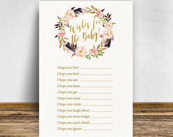 Boho Wishes for the baby, Boho Baby shower games, Baby shower wishes, Baby shower activities, Wishes for baby card, Wish for baby, Bo-Ho