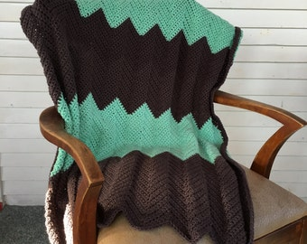 Handmade Chevron Blanket, Chevron Crochet Baby Blanket, Crochet Throw