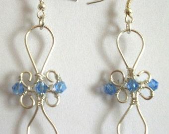 Wire Wrapped Blue Crystal Dangle Earrings