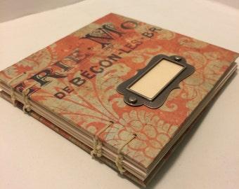 4x4 red vintage french blank scrapbook album, photo album, journal, scrapbook, mini scrapbook album, blank planner
