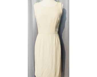 60s Sleeveless Off White Wiggle Cocktail Dress