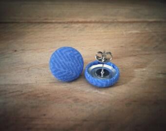 Blue Geometric Earrings. Fabric Button Earrings. Handmade Earrings. Gifts for Her. Gifts Under 20. Stud Earrings. Clip On Earrings.