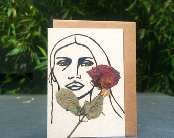 Lady w/ Rose - 100% recycled A7 grey greeting card