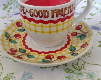 """Hand made hand poured scented with peach mango soy wax candle """"Life has no Blessing Like Good Friends""""coffee cup"""