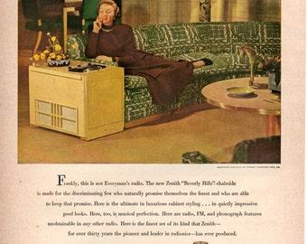 Zenith Radio  1940s Original Magazine Ad WOW Wall Art Home Decor and Gift