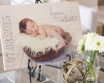 Wood Photo Print {custom text}-{Your Photo on Wood} newborn | baby | wedding | anniversary | graduation | engagement | rustic | gift