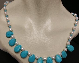 Pearl, Tear Drop Turquoise and Swarovski Crystal Necklace