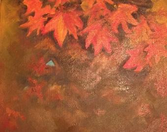 Autumn, Leaves, Season, Golden, Orange, Fall, Oil, Painting, Original, Art