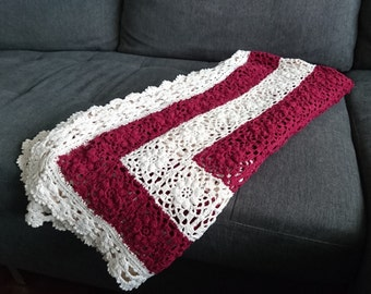 Lace granny square throw blanket