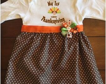 Turkey First Thanksgiving Baby Dress, Baby Fall Dress, Baby Thanksgiving Dress, First Thanksgiving Dress, Baby Pumpkin Patch Dress