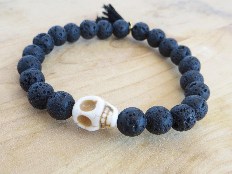 beaded bracelet lava bead bracelet mens bracelet skull bead