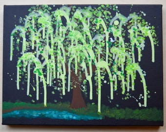 Weeping Willow Tree Painting for Children on Canvas