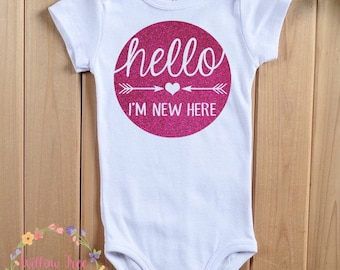 Hello I'm New Here Newborn Infant Bodysuit, New Baby Gift, Baby Shower Gift, Birth Announcement, Going Home From Hospital Outfit