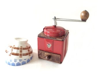 PEUGEOT coffee grinder. 1950's design. French red coffee mill.