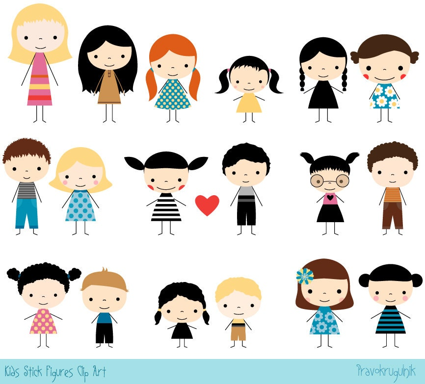 Cute Stick Figure Clipart Kawaii Boy And Girl Clip Art - Cartoon stick people clip art