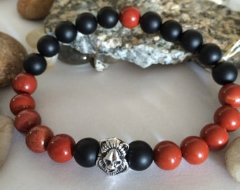 Black Onyx and Red Jasper Beaded Bracelet