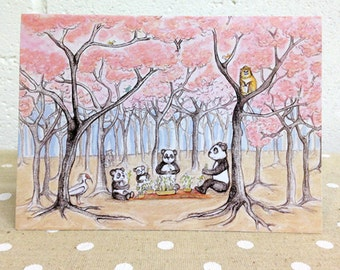 Panda picnic illustrated card by Rebecca Carr