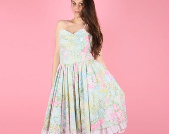 80s does 50s Floral Garden Party Dress