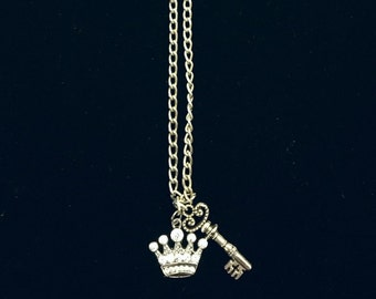 Crown and Key Necklace