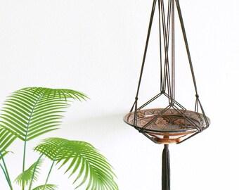 "Modern macrame hanging basket in dark brown 180 cm / modern macrame plant hanger dark brown 70 """