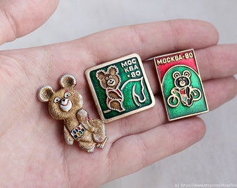 Pick from set Soviet vintage USSR / 1980 Summer Olympic games enamel pin / metal badge / Moscow / Russian Bear mascot Olympic Mishka / Misha