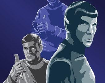 "The Final Frontier - A Star Trek Tribute Art Print Digital Illustration 8""x10"" matte or 4""x6"" glossy"