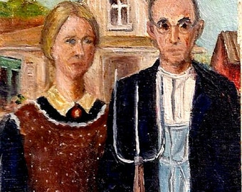 """MINIATURE """"AMERICAN GOTHIC"""" Oil Painting - No Frame"""