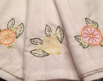 Vintage Citrus Cloth Dinner Napkins - Set of 6