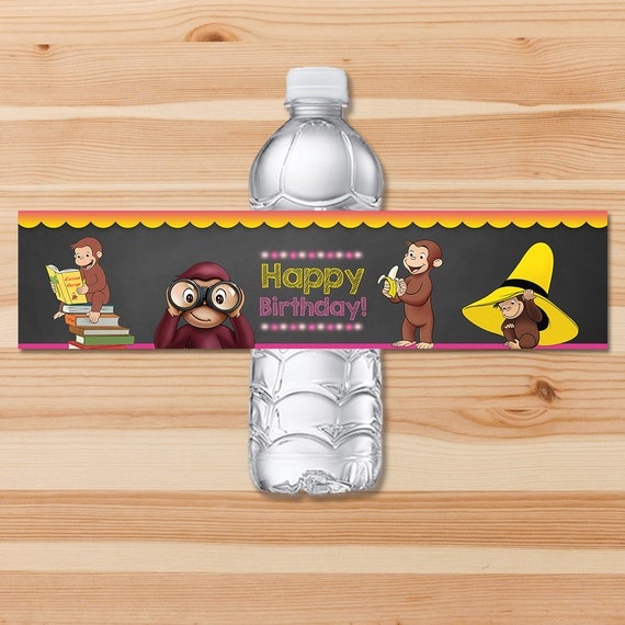 Curious George Birthday Drink Labels - Pink Chalkboard - Girl Curious George Water Bottle Label - Curious George Party Printables
