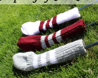 Striped Golf Club Head Cover - Choose Your Colours - Hand Knit - Custom Made to Order