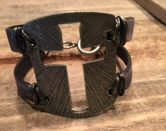 Cross metal plate wire wrapped leather bracelet