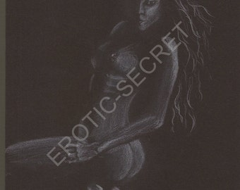 Curiosa original erotic drawing naughty fantasy