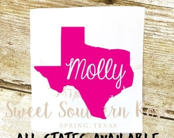 State Name Decal, Texas YETI Decal, State Decal, Monogram Decal, Tumbler Decal, Sticker, Personalized, Phone, iPhone, iPad, Positivity