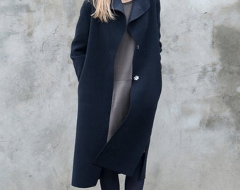 Women's black woollen coat - Frost, light coat, long coat with pockets autumn or winter coat, can be with or without lining