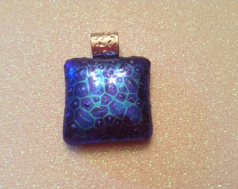 Dichroic glass pendant, necklace, light blue, dark blue, silver bail, black cord, handmade
