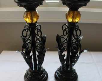 Black Pillar Candle Stands with Amber/Citrine Jewels