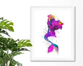 Mermaid 2 Watercolor Fine  Art Print, Poster, Wall Art, Home Decor, Kids Wall Art, Play Room Wall Art, Nursery Wall Art, Archival print