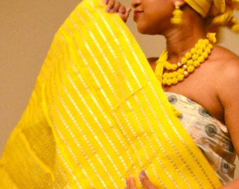 yellow Aso Oke gele and Ipele with bag or clutch